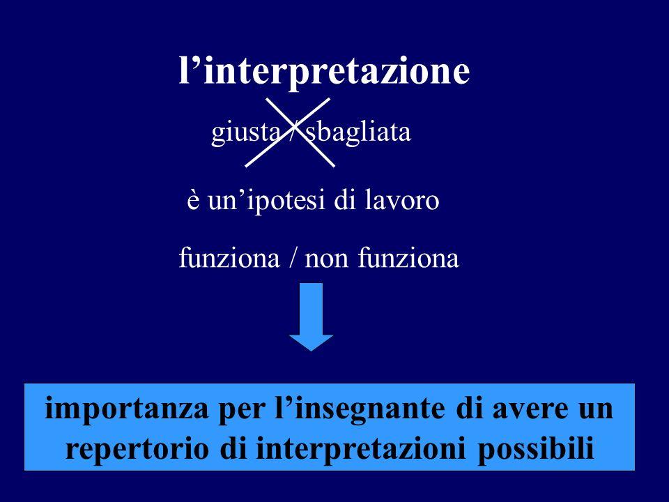 linterpretazione giusta / sbagliata è unipotesi di lavoro funziona / non funziona importanza per linsegnante di avere un repertorio di interpretazioni