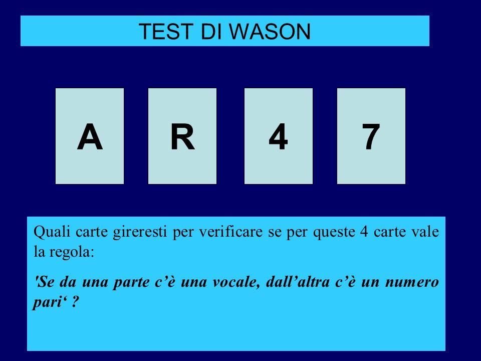 AR47 TEST DI WASON Quali carte gireresti per verificare se per queste 4 carte vale la regola: 'Se da una parte cè una vocale, dallaltra cè un numero p