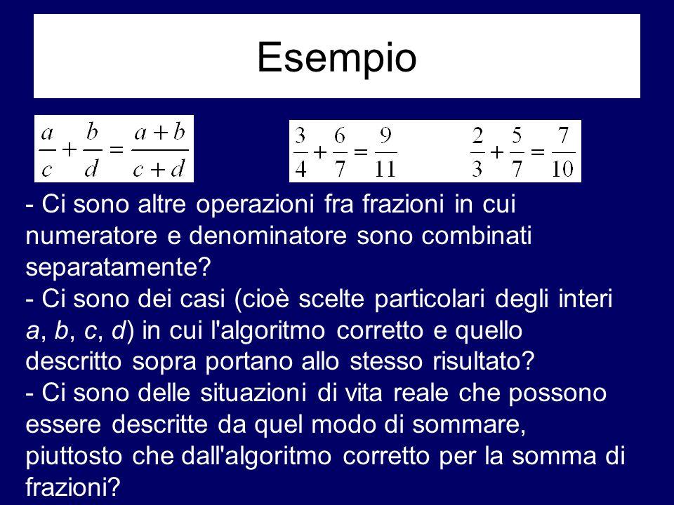 Esempio - Ci sono altre operazioni fra frazioni in cui numeratore e denominatore sono combinati separatamente? - Ci sono dei casi (cioè scelte partico