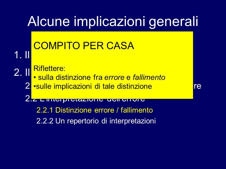Alcune implicazioni generali 1. Il ruolo del contesto 2. Il ruolo dellerrore: 2.1 Lepistemologia e la pedagogia dellerrore 2.2 Linterpretazione deller