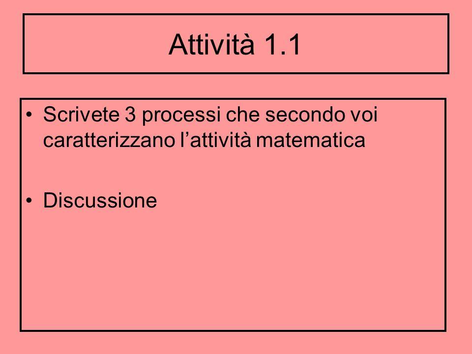 Attività 1.1 Scrivete 3 processi che secondo voi caratterizzano lattività matematica Discussione