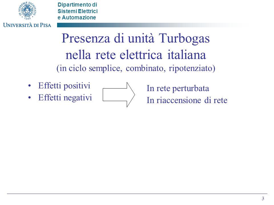 Dipartimento di Sistemi Elettrici e Automazione 3 Presenza di unità Turbogas nella rete elettrica italiana (in ciclo semplice, combinato, ripotenziato) Effetti positivi Effetti negativi In rete perturbata In riaccensione di rete