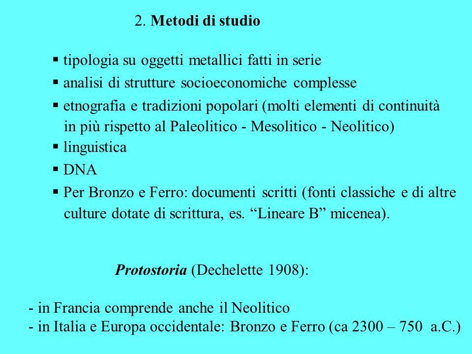 2. Metodi di studio tipologia su oggetti metallici fatti in serie analisi di strutture socioeconomiche complesse etnografia e tradizioni popolari (mol
