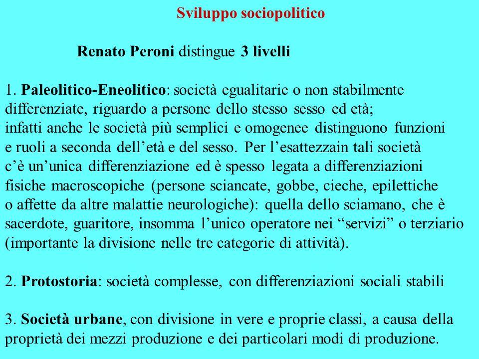 Sviluppo sociopolitico Renato Peroni distingue 3 livelli 1. Paleolitico-Eneolitico: società egualitarie o non stabilmente differenziate, riguardo a pe