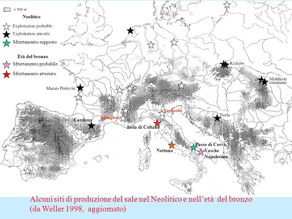 Sfruttamento attestato Sfruttamento probabile Età del bronzo Neolitico Alcuni siti di produzione del sale nel Neolitico e nelletà del bronzo (da Welle