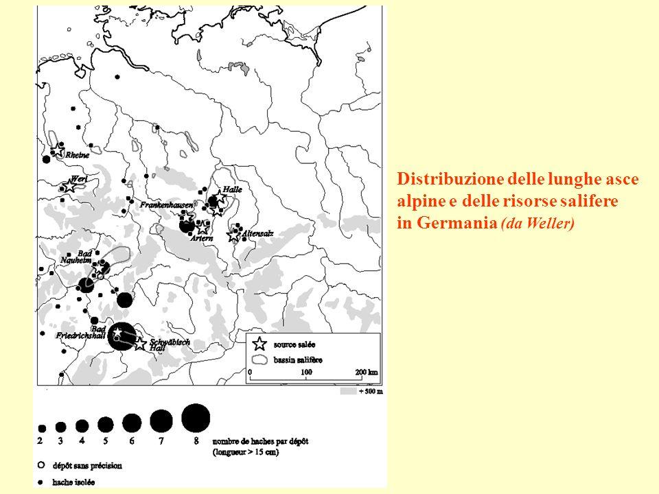 Distribuzione delle lunghe asce alpine e delle risorse salifere in Germania (da Weller)