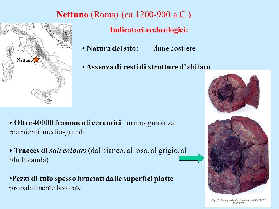 Nettuno (Roma) (ca 1200-900 a.C.) Nettuno Indicatori archeologici: Natura del sito: dune costiere Assenza di resti di strutture dabitato Oltre 40000 f