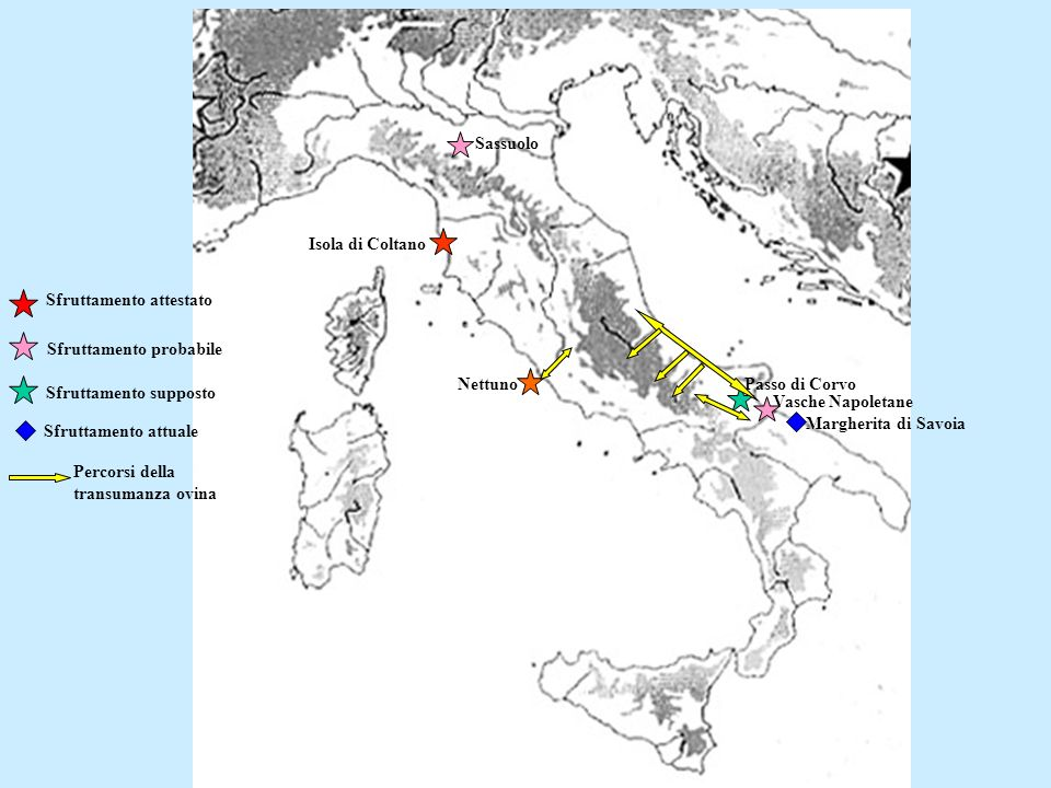 Sassuolo Isola di Coltano Nettuno Vasche Napoletane Passo di Corvo Sfruttamento probabile Sfruttamento supposto Sfruttamento attuale Margherita di Sav