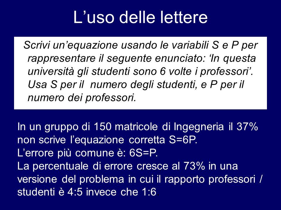Luso delle lettere Scrivi unequazione usando le variabili S e P per rappresentare il seguente enunciato: In questa università gli studenti sono 6 volt