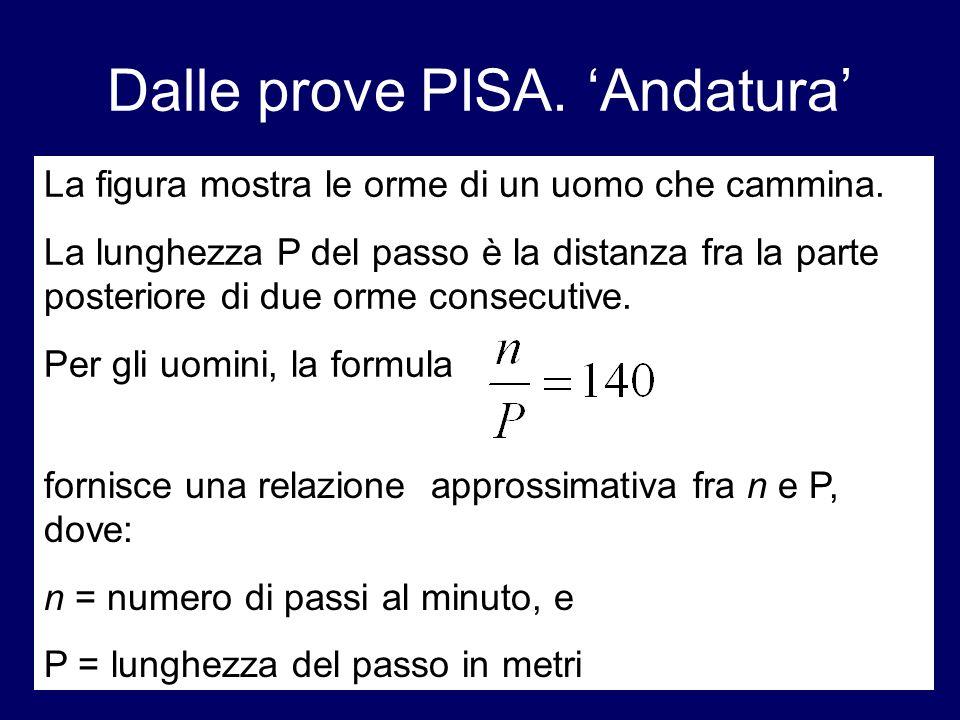 fornisce una relazione approssimativa fra n e P, dove: n = numero di passi al minuto, e P = lunghezza del passo in metri Dalle prove PISA. Andatura La