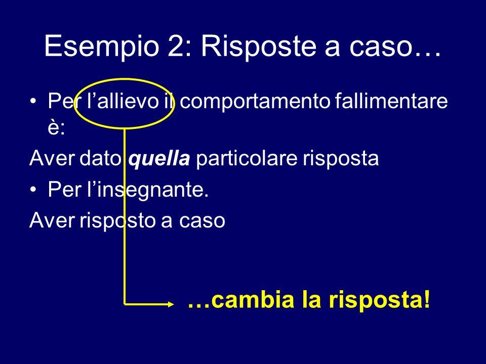 Esempio 2: Risposte a caso… Per lallievo il comportamento fallimentare è: Aver dato quella particolare risposta Per linsegnante. Aver risposto a caso