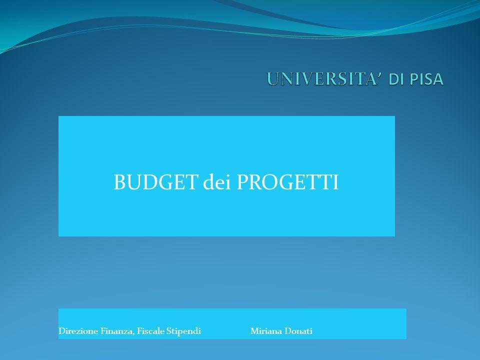 BUDGET dei PROGETTI Direzione Finanza, Fiscale StipendiMiriana Donati