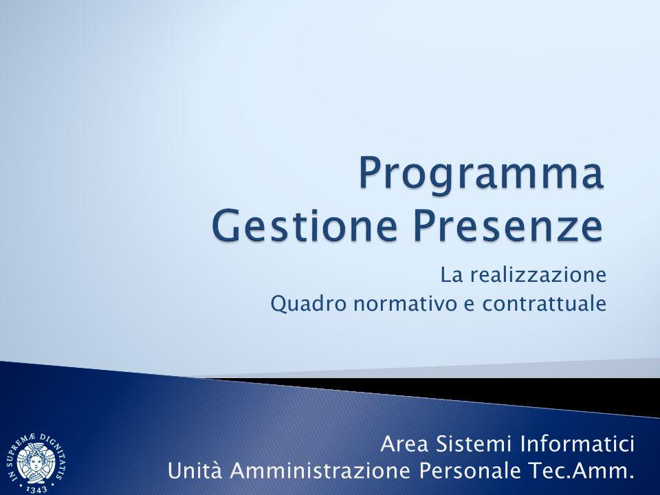 La realizzazione Quadro normativo e contrattuale Area Sistemi Informatici Unità Amministrazione Personale Tec.Amm.