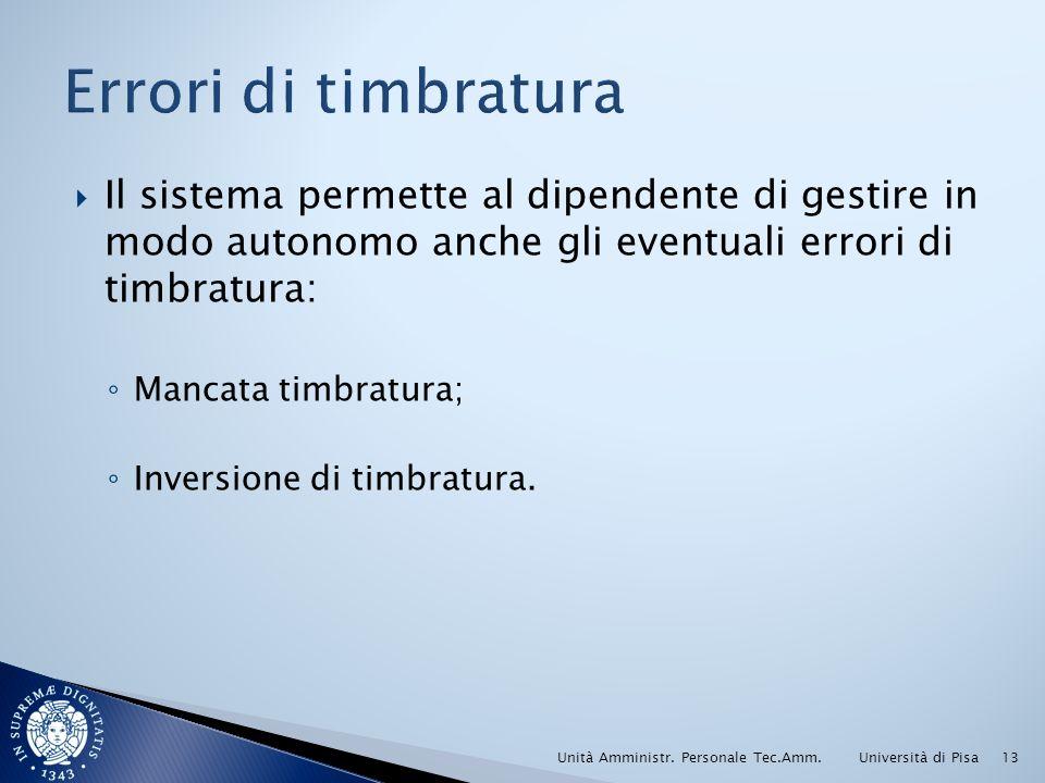 Il sistema permette al dipendente di gestire in modo autonomo anche gli eventuali errori di timbratura: Mancata timbratura; Inversione di timbratura.