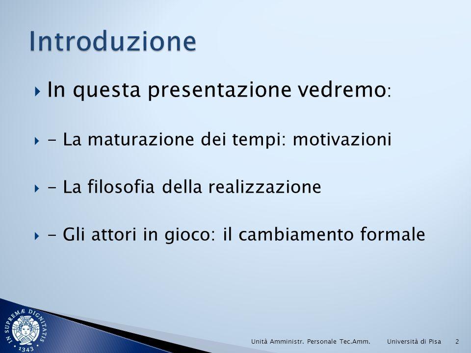 In questa presentazione vedremo : - La maturazione dei tempi: motivazioni - La filosofia della realizzazione - Gli attori in gioco: il cambiamento formale Università di PisaUnità Amministr.
