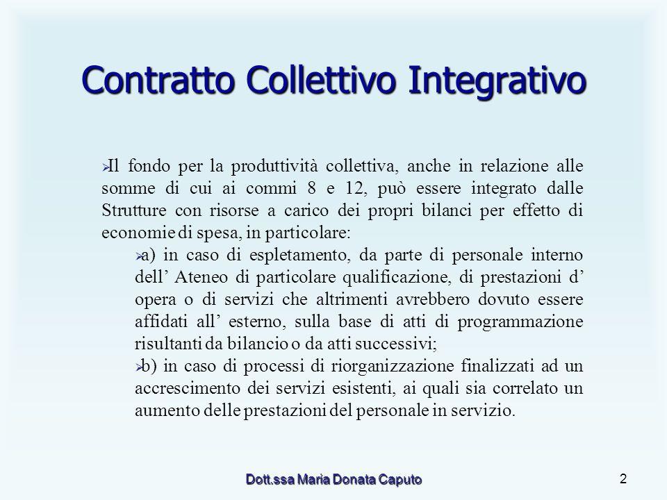 Dott.ssa Maria Donata Caputo2 Contratto Collettivo Integrativo Il fondo per la produttività collettiva, anche in relazione alle somme di cui ai commi