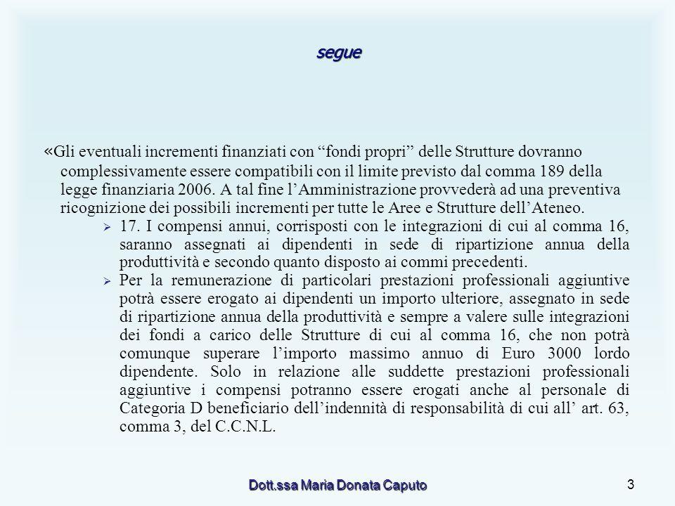 Dott.ssa Maria Donata Caputo3 segue « « Gli eventuali incrementi finanziati con fondi propri delle Strutture dovranno complessivamente essere compatibili con il limite previsto dal comma 189 della legge finanziaria 2006.