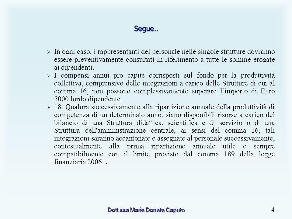 Dott.ssa Maria Donata Caputo4 Segue.. In ogni caso, i rappresentanti del personale nelle singole strutture dovranno essere preventivamente consultati