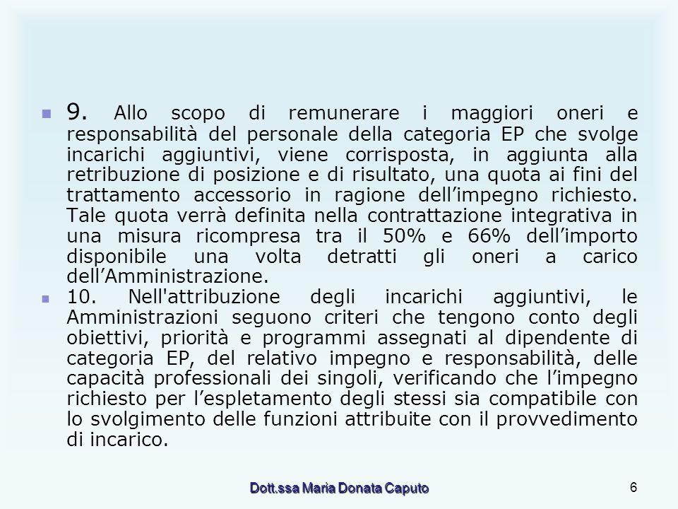 Dott.ssa Maria Donata Caputo6 9. Allo scopo di remunerare i maggiori oneri e responsabilità del personale della categoria EP che svolge incarichi aggi