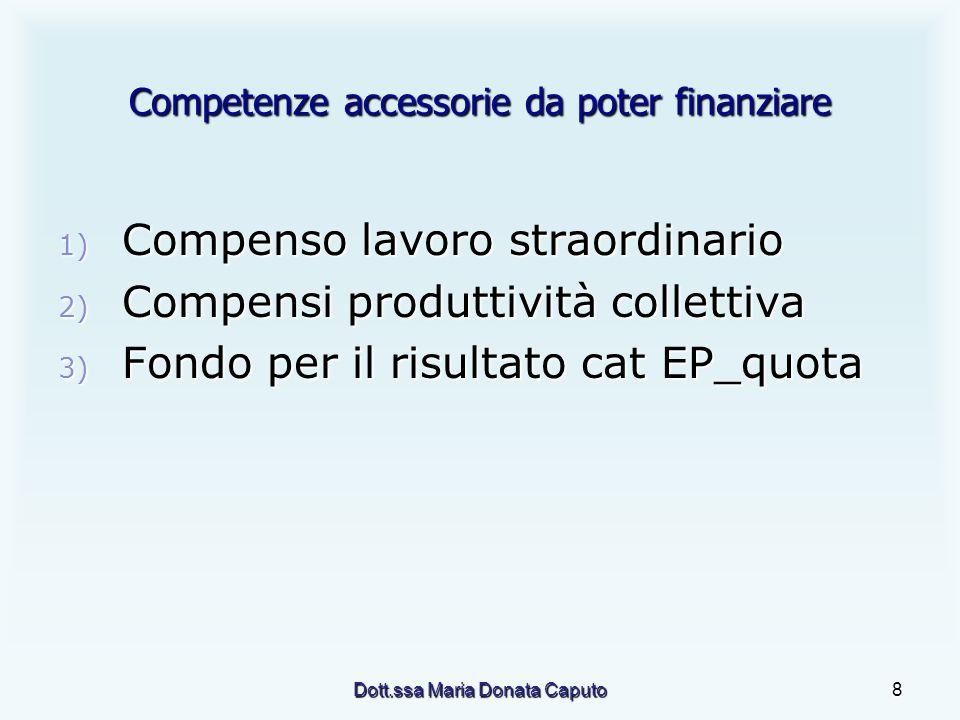 Dott.ssa Maria Donata Caputo8 Competenze accessorie da poter finanziare 1) Compenso lavoro straordinario 2) Compensi produttività collettiva 3) Fondo per il risultato cat EP_quota