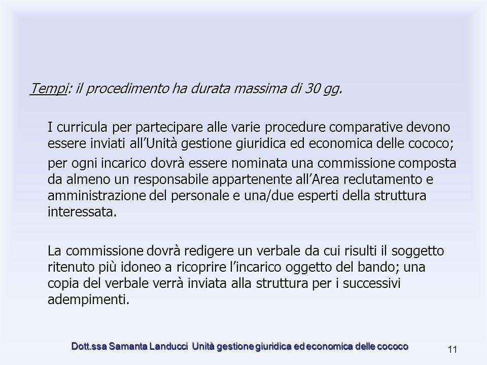 Dott.ssa Samanta Landucci Unità gestione giuridica ed economica delle cococo 11 Tempi: il procedimento ha durata massima di 30 gg.