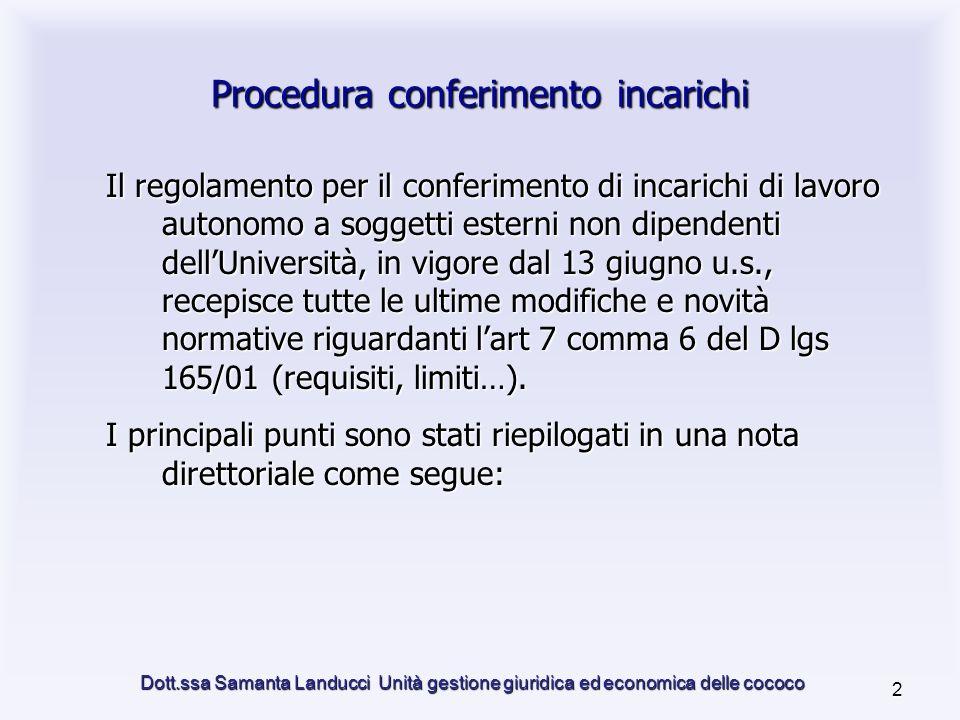 Dott.ssa Samanta Landucci Unità gestione giuridica ed economica delle cococo 13 3.