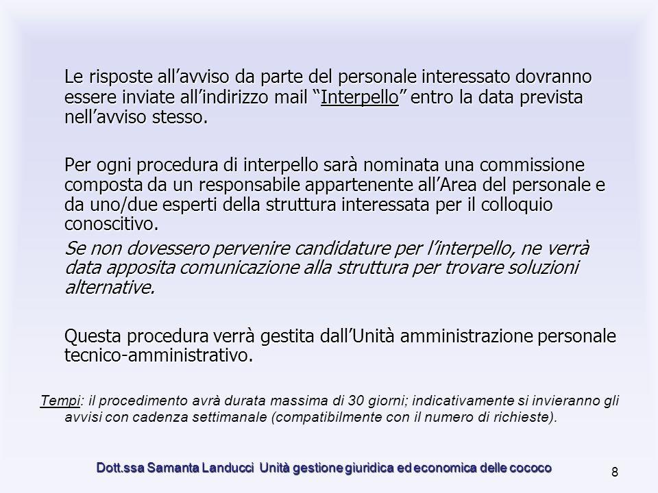 Dott.ssa Samanta Landucci Unità gestione giuridica ed economica delle cococo 8 Le risposte allavviso da parte del personale interessato dovranno essere inviate allindirizzo mail Interpello entro la data prevista nellavviso stesso.