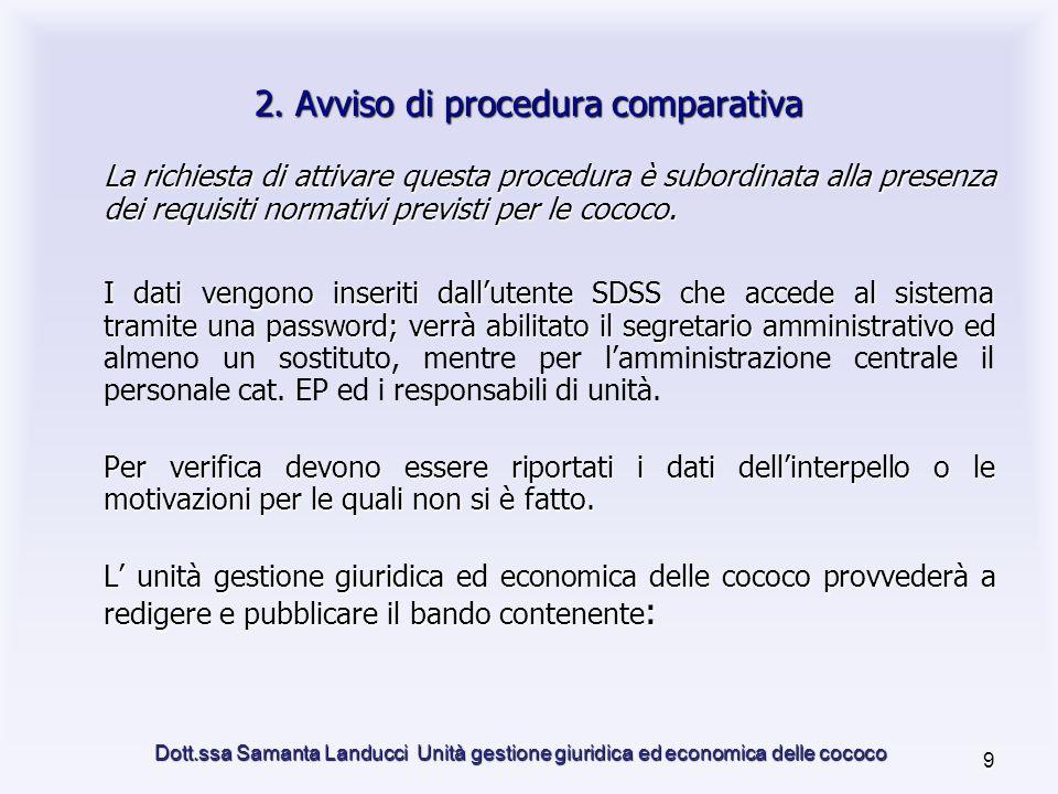 Dott.ssa Samanta Landucci Unità gestione giuridica ed economica delle cococo 9 2.