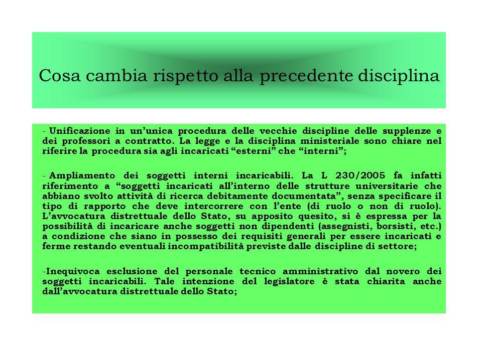 Cosa cambia rispetto alla precedente disciplina - Unificazione in ununica procedura delle vecchie discipline delle supplenze e dei professori a contratto.