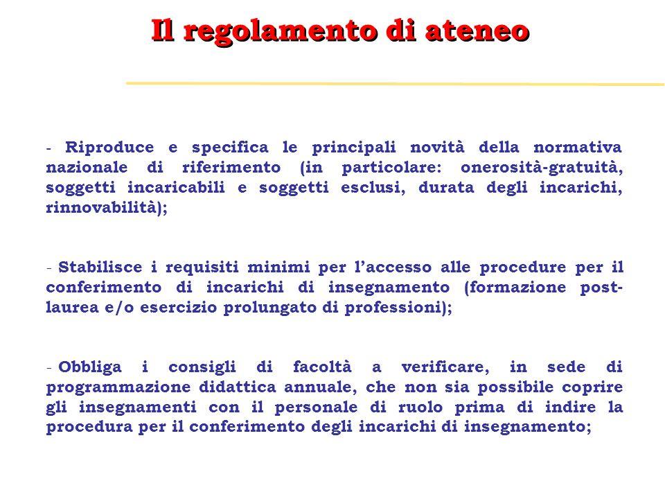 Il regolamento di ateneo - Riproduce e specifica le principali novità della normativa nazionale di riferimento (in particolare: onerosità-gratuità, so