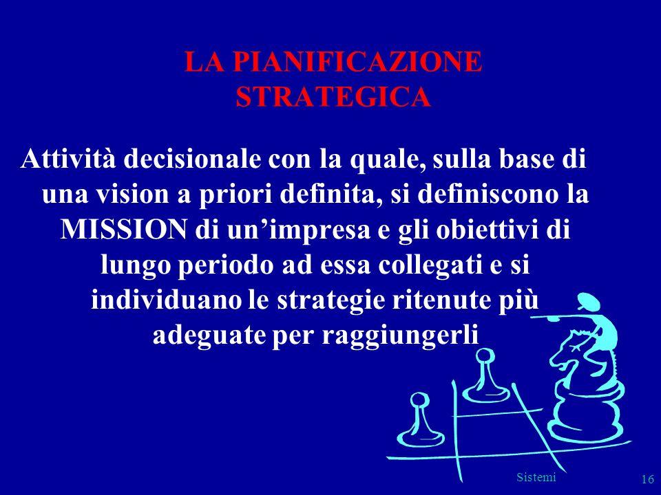 Sistemi 16 LA PIANIFICAZIONE STRATEGICA Attività decisionale con la quale, sulla base di una vision a priori definita, si definiscono la MISSION di un