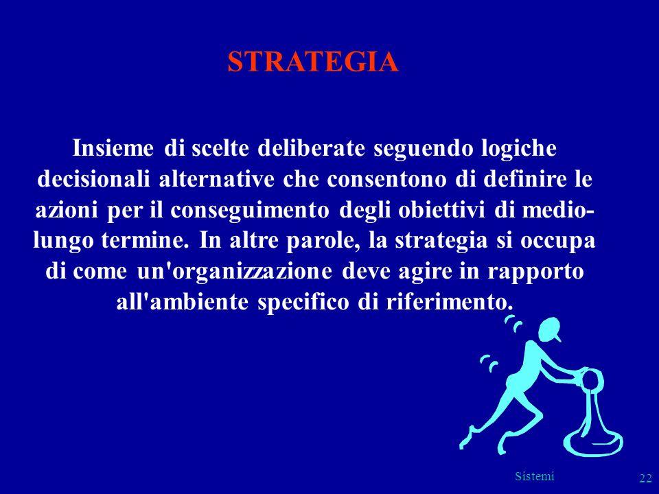 Sistemi 22 Insieme di scelte deliberate seguendo logiche decisionali alternative che consentono di definire le azioni per il conseguimento degli obiet
