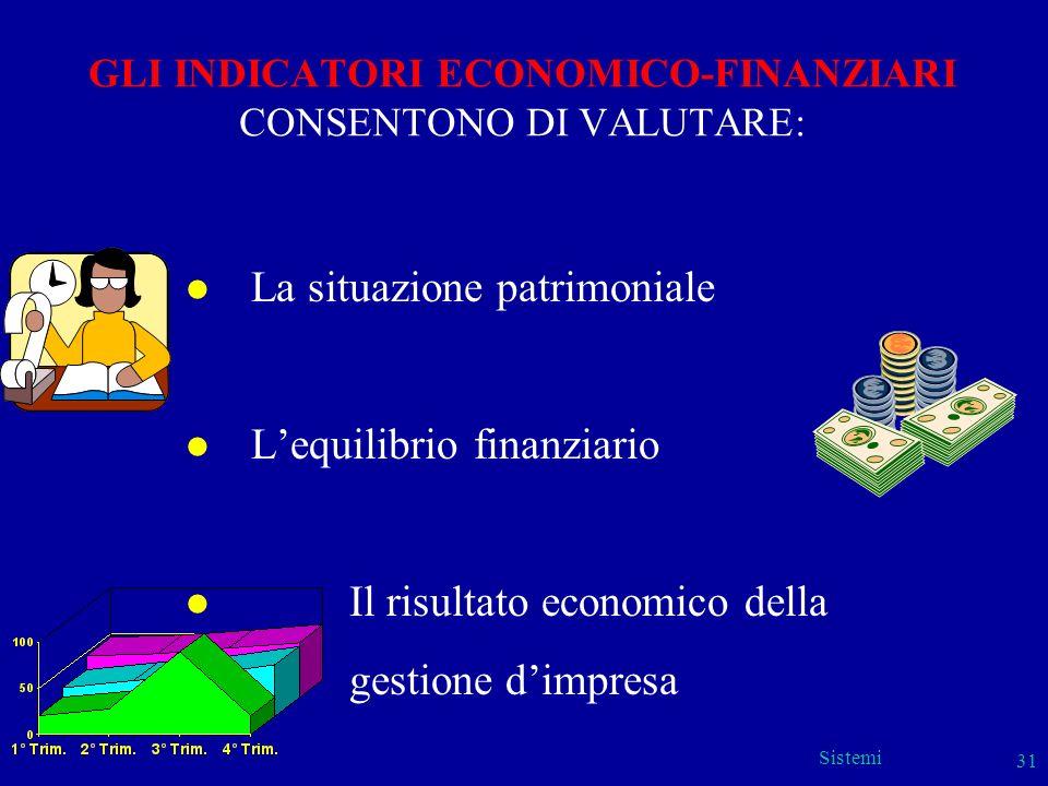 Sistemi 31 GLI INDICATORI ECONOMICO-FINANZIARI CONSENTONO DI VALUTARE: l La situazione patrimoniale l Lequilibrio finanziario l Il risultato economico