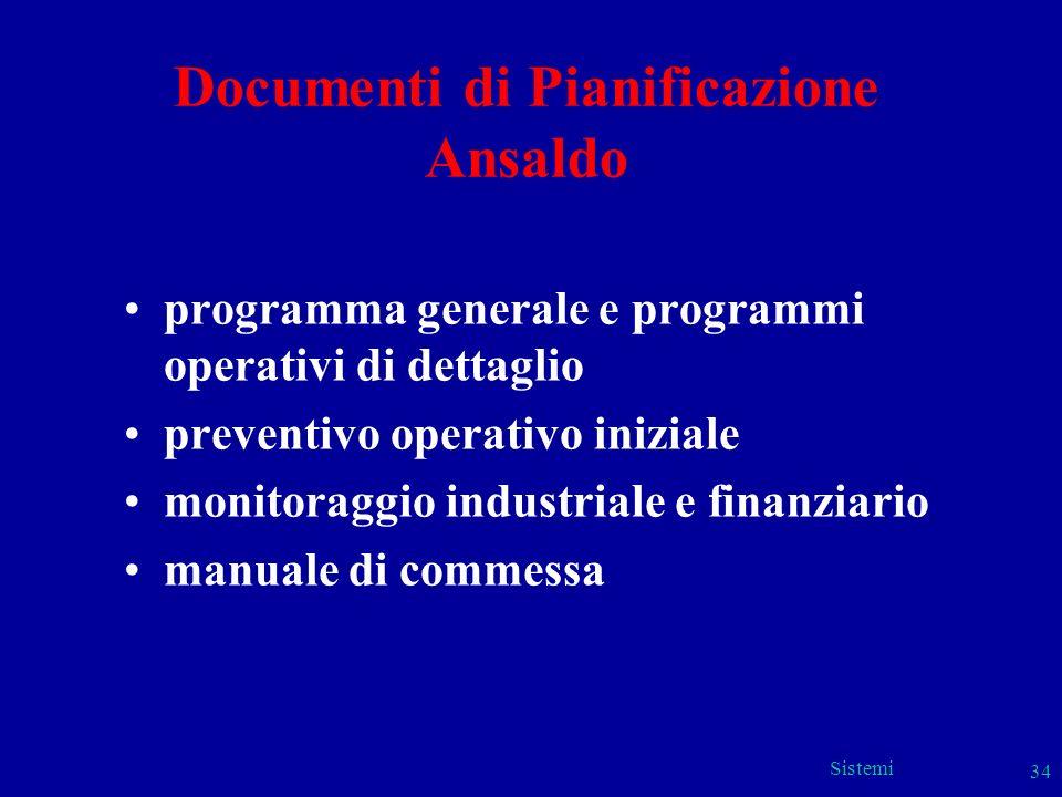 Sistemi 34 Documenti di Pianificazione Ansaldo programma generale e programmi operativi di dettaglio preventivo operativo iniziale monitoraggio indust