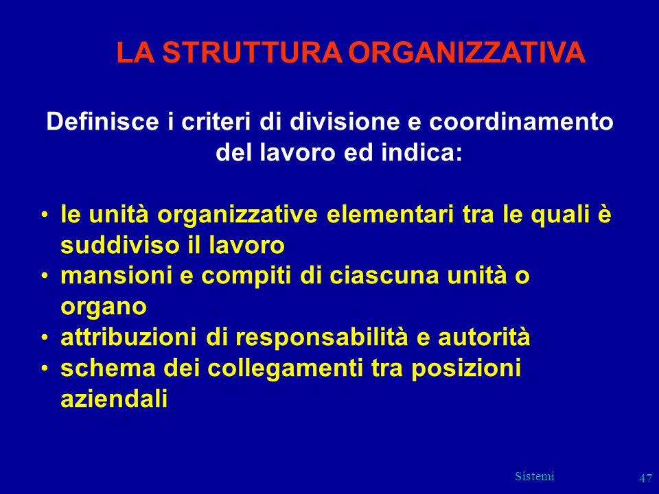 Sistemi 47 LA STRUTTURA ORGANIZZATIVA Definisce i criteri di divisione e coordinamento del lavoro ed indica: le unità organizzative elementari tra le