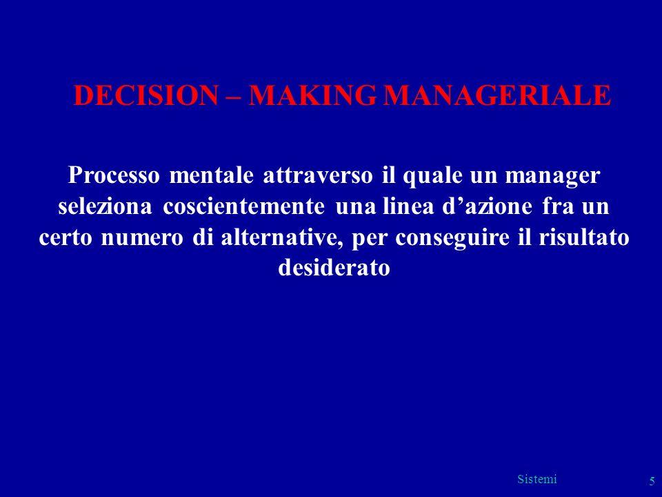 Sistemi 5 DECISION – MAKING MANAGERIALE Processo mentale attraverso il quale un manager seleziona coscientemente una linea dazione fra un certo numero