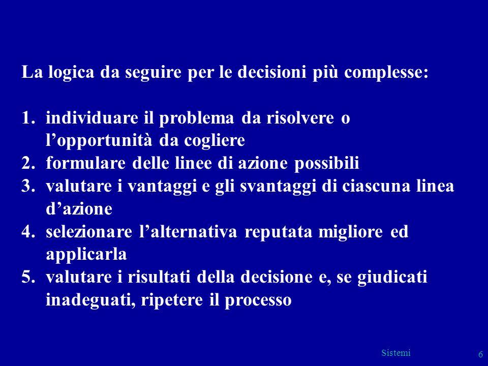 Sistemi 6 La logica da seguire per le decisioni più complesse: 1.individuare il problema da risolvere o lopportunità da cogliere 2.formulare delle lin