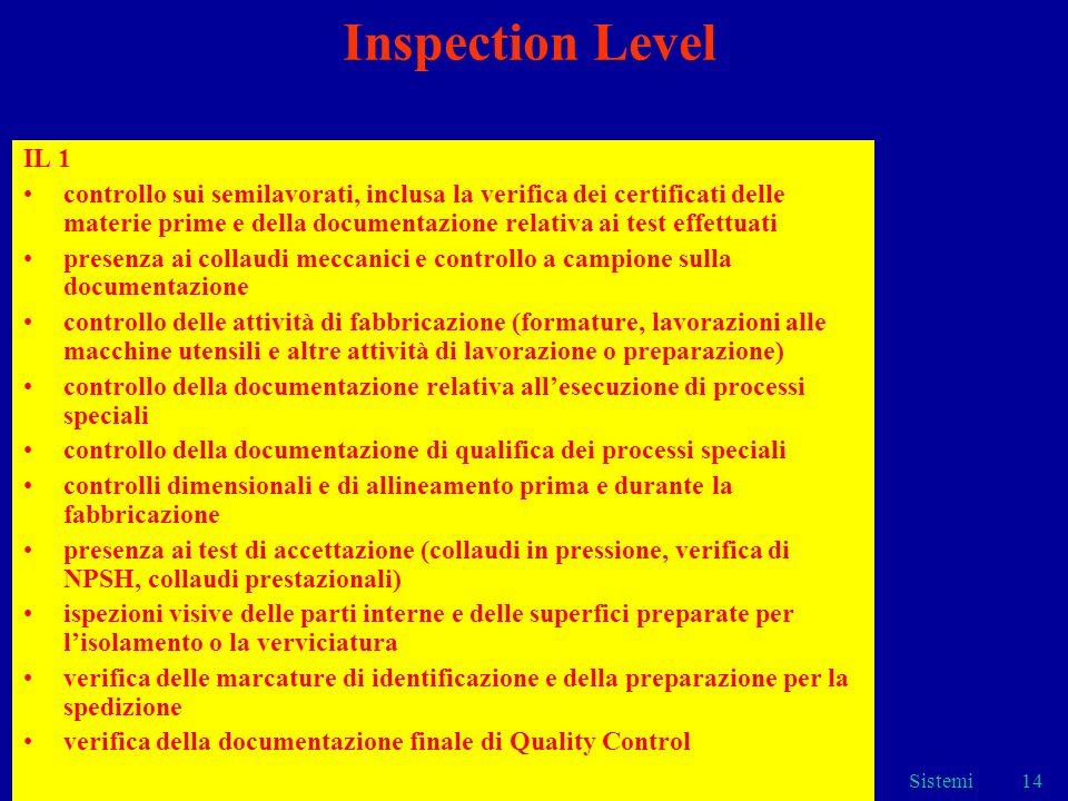 Sistemi14 Inspection Level IL 1 controllo sui semilavorati, inclusa la verifica dei certificati delle materie prime e della documentazione relativa ai
