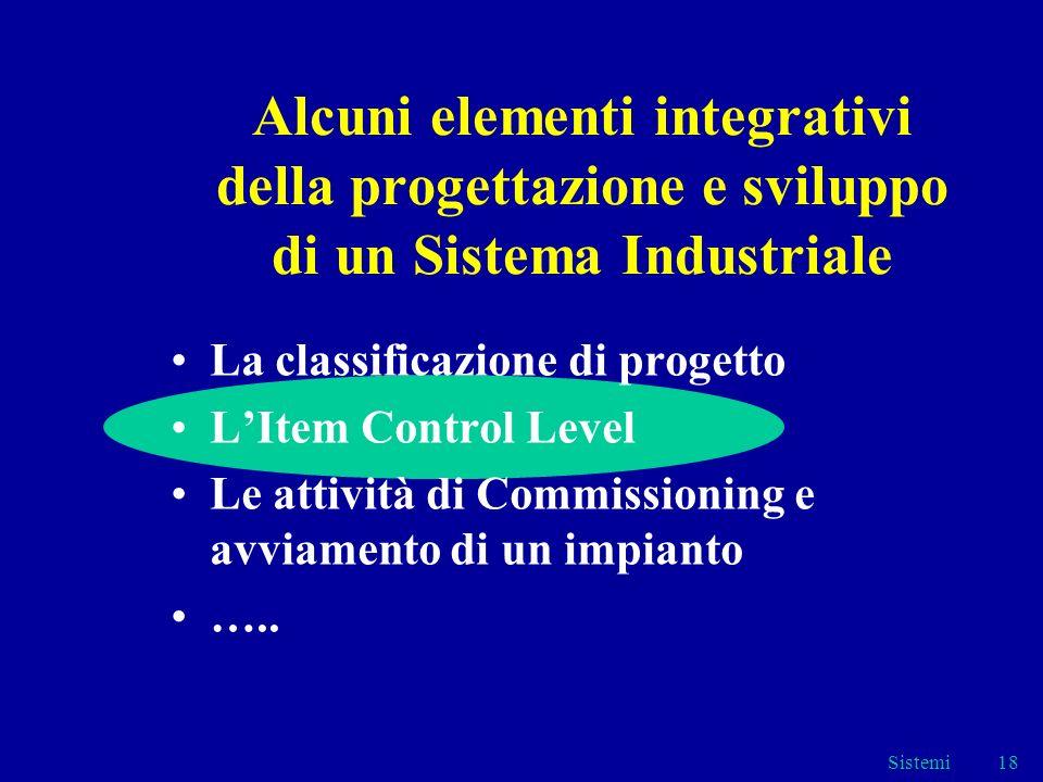 Sistemi18 Alcuni elementi integrativi della progettazione e sviluppo di un Sistema Industriale La classificazione di progetto LItem Control Level Le attività di Commissioning e avviamento di un impianto …..