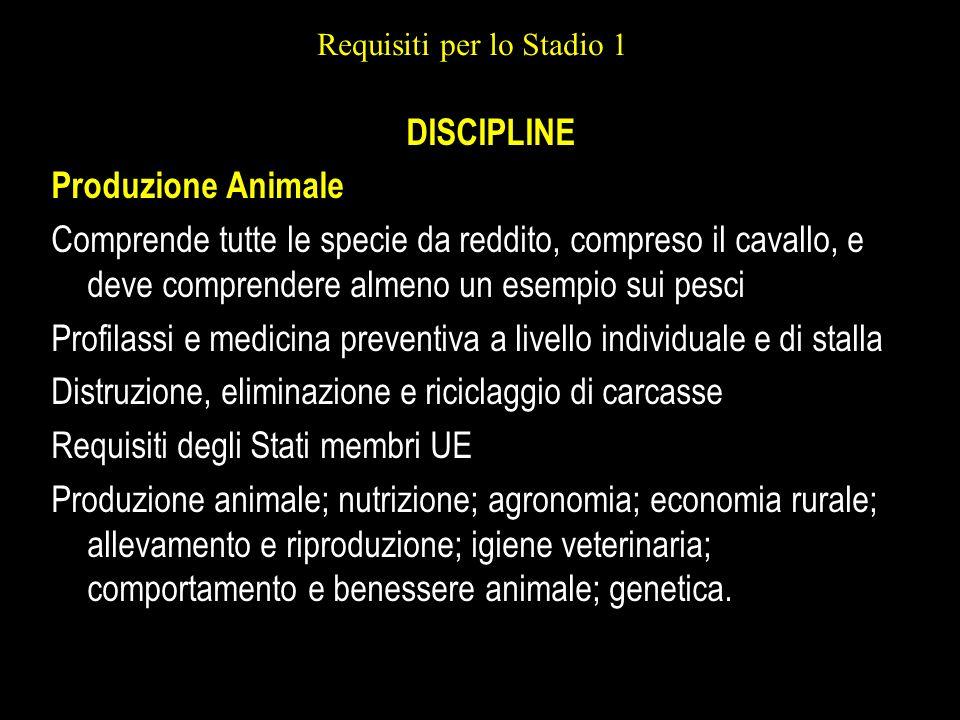 Requisiti per lo Stadio 1 DISCIPLINE Produzione Animale Comprende tutte le specie da reddito, compreso il cavallo, e deve comprendere almeno un esempi