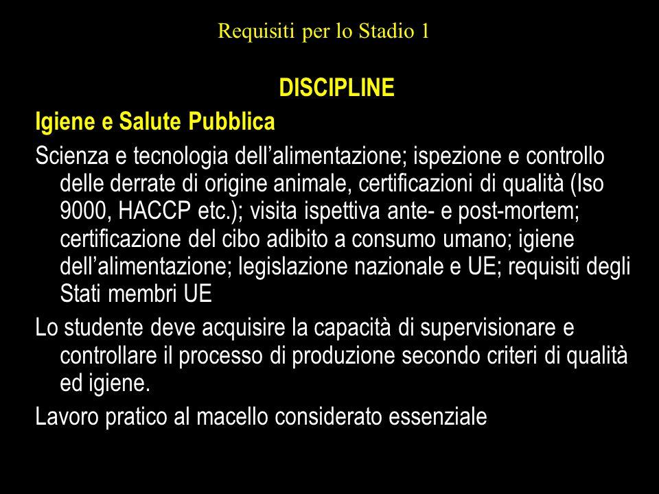 Requisiti per lo Stadio 1 DISCIPLINE Igiene e Salute Pubblica Scienza e tecnologia dellalimentazione; ispezione e controllo delle derrate di origine a