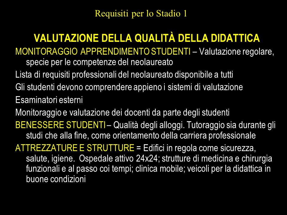 Requisiti per lo Stadio 1 VALUTAZIONE DELLA QUALITÀ DELLA DIDATTICA MONITORAGGIO APPRENDIMENTO STUDENTI – Valutazione regolare, specie per le competen