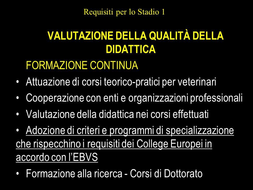 Requisiti per lo Stadio 1 VALUTAZIONE DELLA QUALITÀ DELLA DIDATTICA FORMAZIONE CONTINUA Attuazione di corsi teorico-pratici per veterinari Cooperazion
