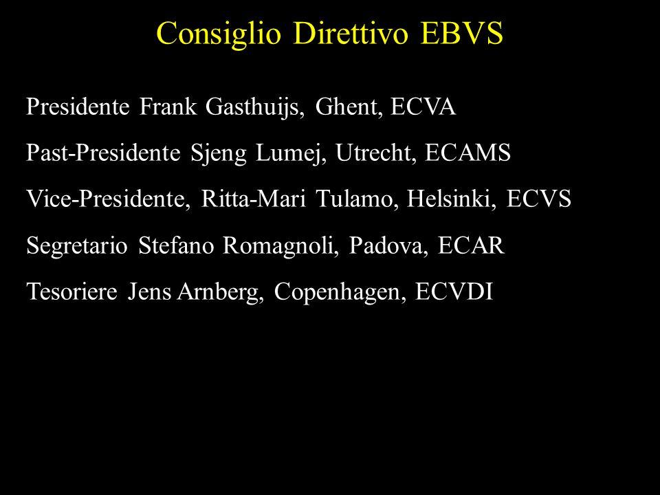 Consiglio Direttivo EBVS Presidente Frank Gasthuijs, Ghent, ECVA Past-Presidente Sjeng Lumej, Utrecht, ECAMS Vice-Presidente, Ritta-Mari Tulamo, Helsi