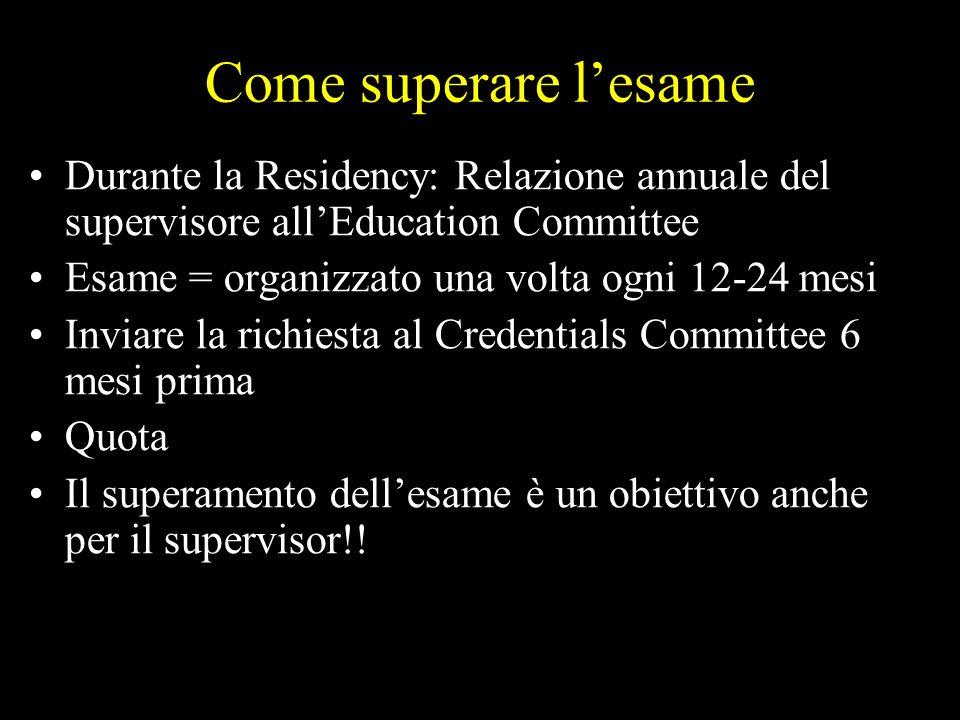 Come superare lesame Durante la Residency: Relazione annuale del supervisore allEducation Committee Esame = organizzato una volta ogni 12-24 mesi Invi