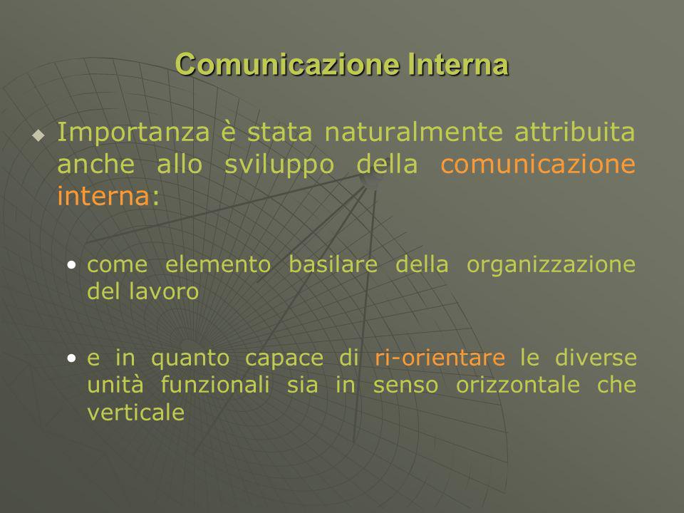 Importanza è stata naturalmente attribuita anche allo sviluppo della comunicazione interna: come elemento basilare della organizzazione del lavoro e in quanto capace di ri-orientare le diverse unità funzionali sia in senso orizzontale che verticale Comunicazione Interna
