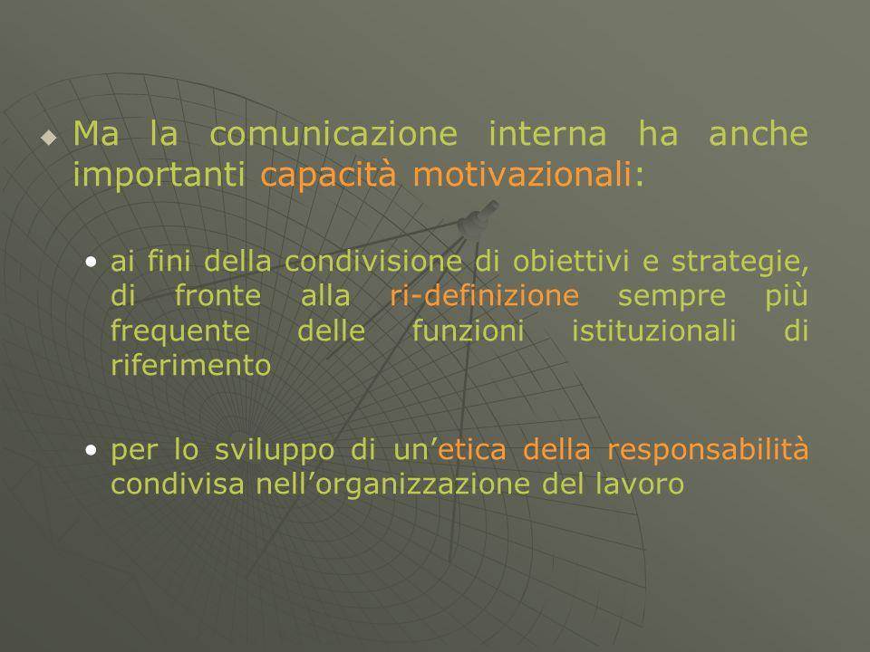 Ma la comunicazione interna ha anche importanti capacità motivazionali: ai fini della condivisione di obiettivi e strategie, di fronte alla ri-definizione sempre più frequente delle funzioni istituzionali di riferimento per lo sviluppo di unetica della responsabilità condivisa nellorganizzazione del lavoro