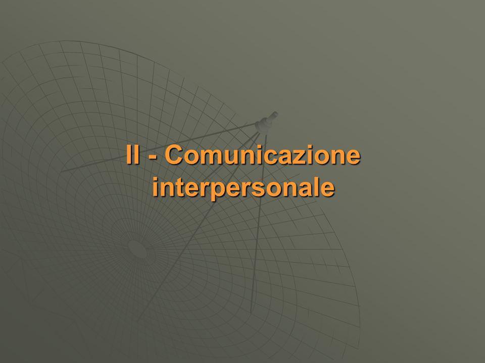 II - Comunicazione interpersonale