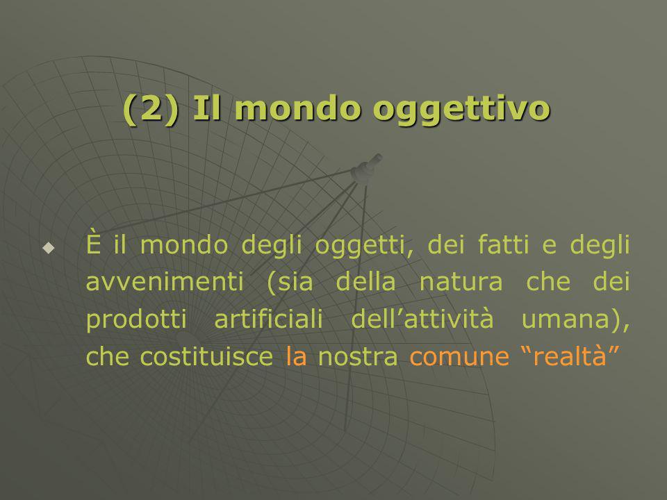 (2) Il mondo oggettivo È il mondo degli oggetti, dei fatti e degli avvenimenti (sia della natura che dei prodotti artificiali dellattività umana), che costituisce la nostra comune realtà