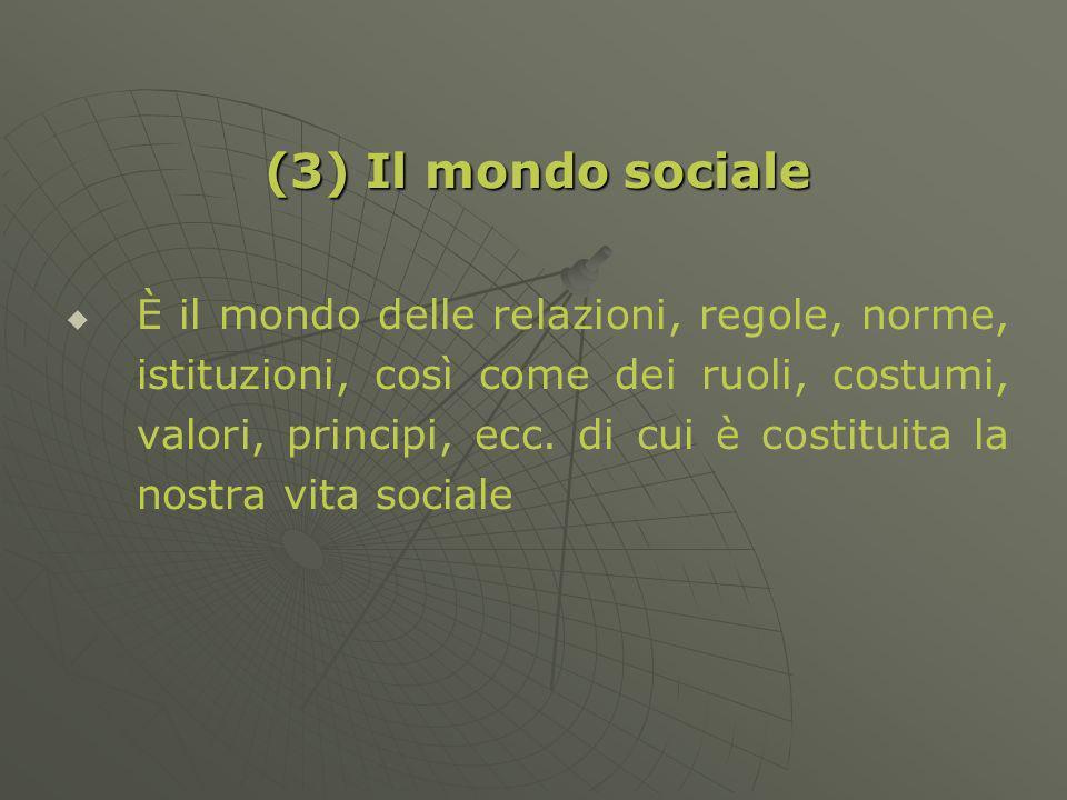 (3) Il mondo sociale È il mondo delle relazioni, regole, norme, istituzioni, così come dei ruoli, costumi, valori, principi, ecc.